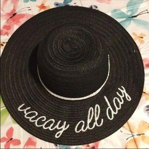 🆕 Vacay All Day Black Straw Floppy Sunhat Beach